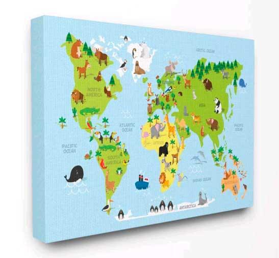 παιδικός χάρτης σε καμβά με τελάρο