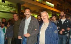 2012/11/17: Ο Β. Χατζηλαμπρου με τον Γ. Γιαννοπουλο στην πορεια του Πολυτεχνειου στην Πατρα