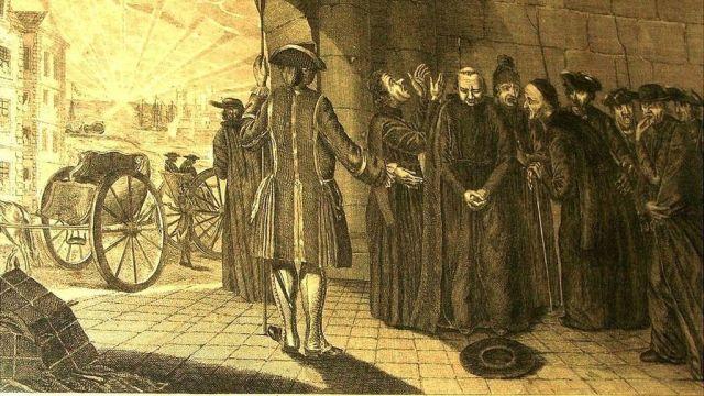 Expulsión y embarque de los jesuitas de los estados de España, por orden de Su Majestad Católica el 31 de marzo de 1767, grabado francés.