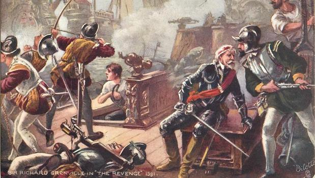 Pintura del Revenge con Grenville, en medio de la batalla contra Alonso de Bazán - W.H. OVEREND