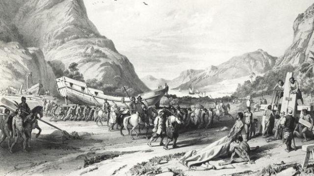 Grabado del siglo XVI donde se muestra a los españoles llevando botes de Tlaxcala a Tenochtitlan (hoy Ciudad de México) con ayuda de aliados indígenas.