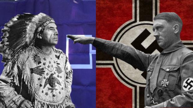 Un indio con la bandera de la Confederación Iroquesa, junto a Hitler junto a la bandera nazi - ABC