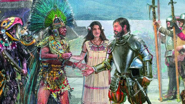 Recreación del encuentro de Moctezuma y Cortés (detalle), por Ricardo Sánchez - ©Ricardo Sánchez