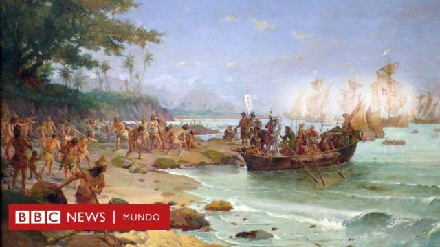 Pintura del desembarco de la flota de Cabral en Porto Seguro, Bahía.