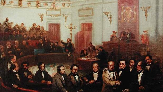 Escena parlamentaria del Congreso de los Diputados a mediados del siglo XIX por el pintor Eugenio Lucas Velázquez.