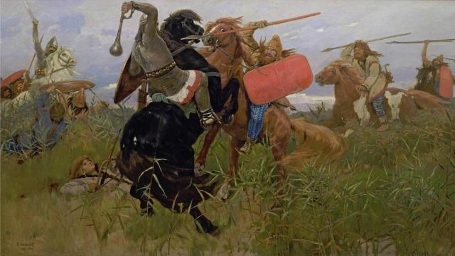 Batalla entre los escitas y los eslavos (Viktor Vasnetsov, 1881). Dominio público