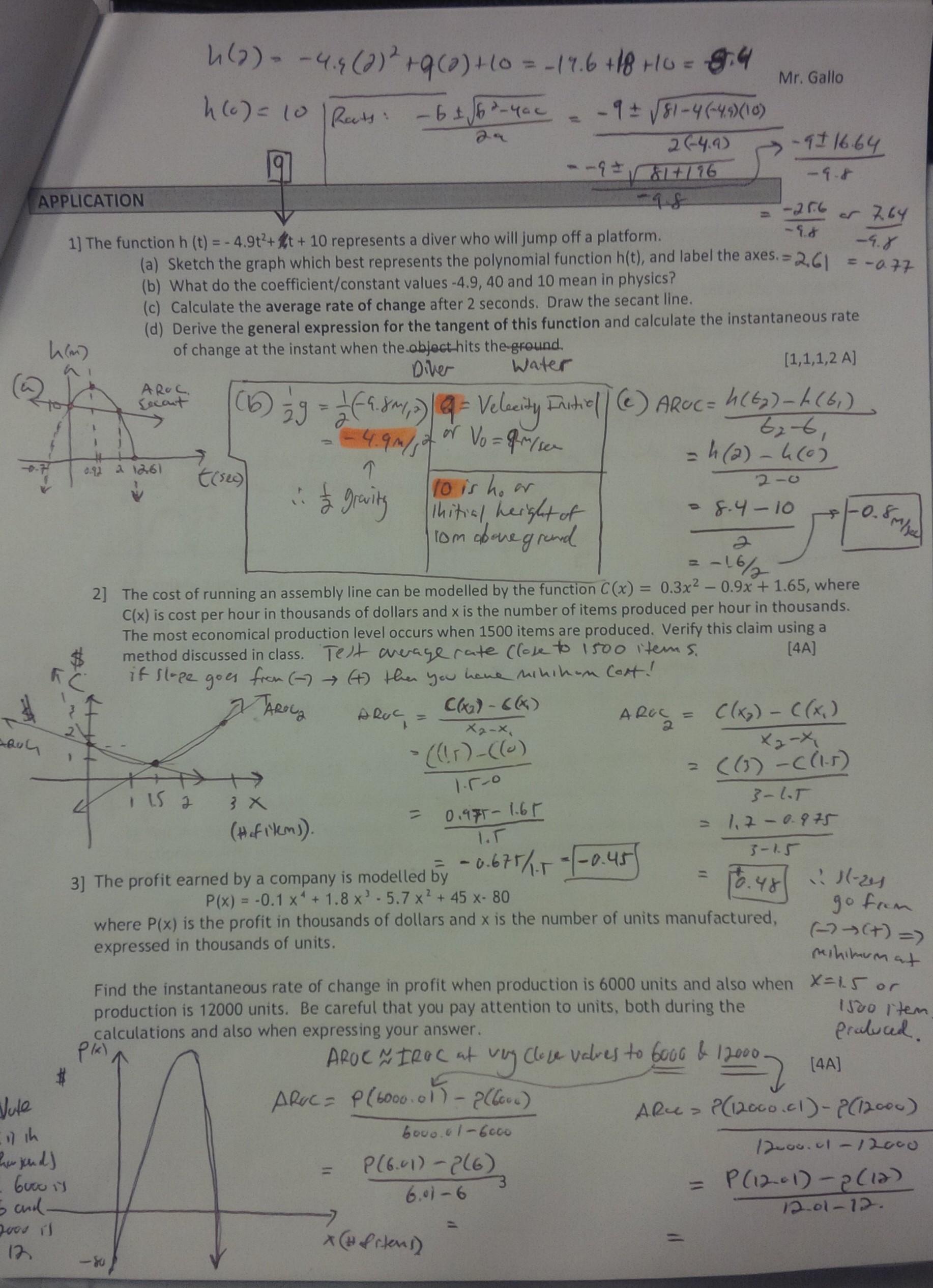 Advanced Functions 12 Night School