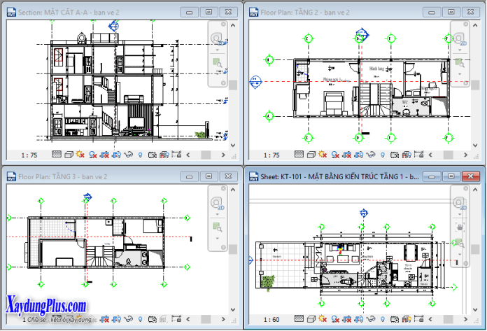 Mở nhiều khung nhìn trong Revit Architecture
