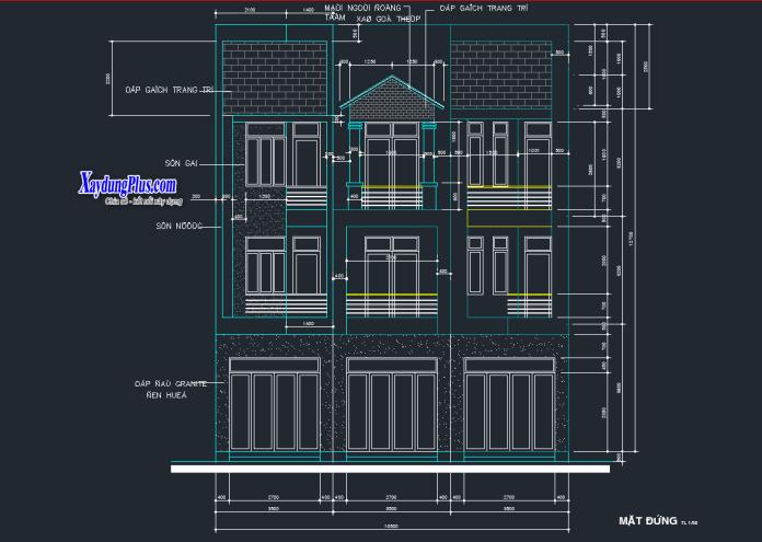 Mẫu thiết kế nhà liền kề 3 tầng 4x13m