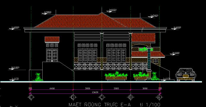 Mẫu biệt thự 2 tầng 14x14m