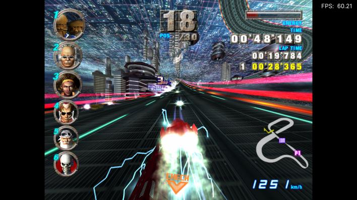 A screenshot of F-Zero GX running on Xbox Series X via RetroArch and Dolphin.