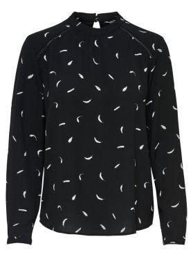 Only blouse zwart met veertjes
