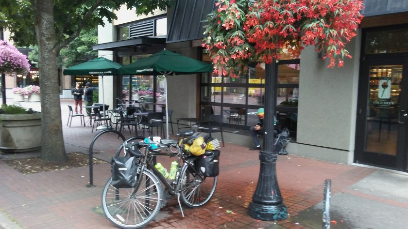 """Bike """"shower"""" outside Starbucks, Eugene, OR"""