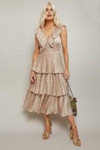 Little Mistress Aleksey Spot Satin Tiered Midi Dress
