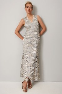 Phase Eight Gray Zoey Lace Maxi Dress