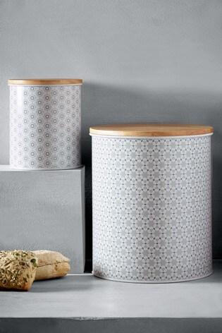 set of 2 mila tile bread bin treat tin