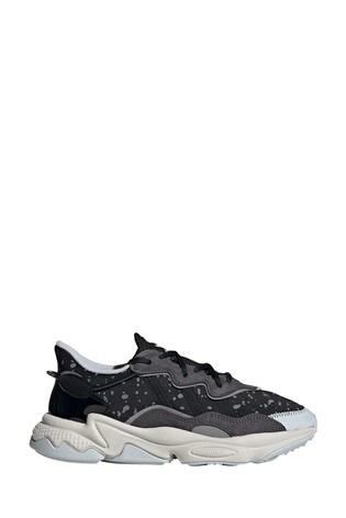 adidas originals black print ozweego trainers