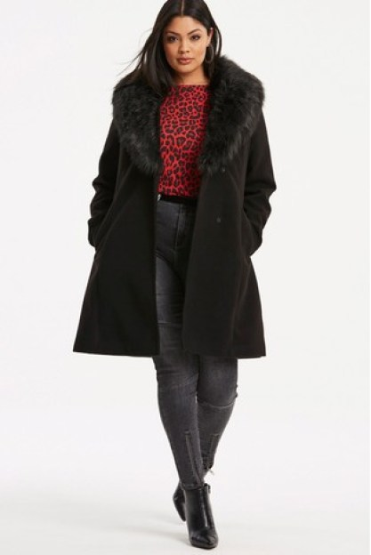 Simple Be Fur Trim Lapel Coat