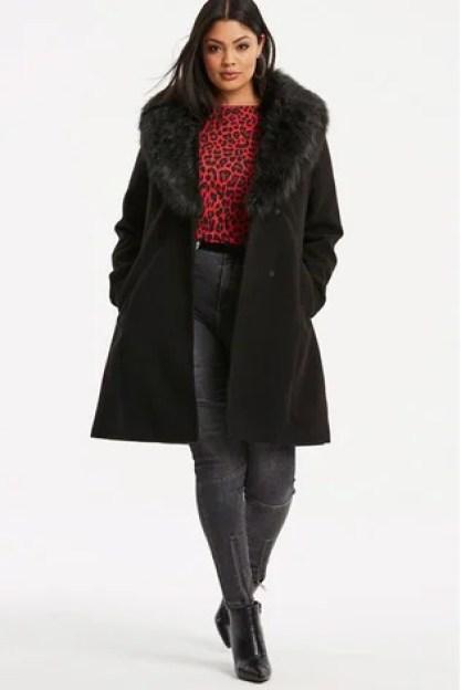 Simple Be Fur Trim Lapel Coat