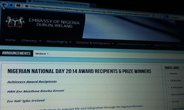 The controversial announcement on the Nigerian Embassy website