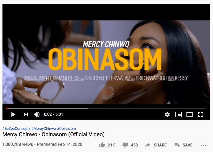 Mercy Chinwo hits 1Million views