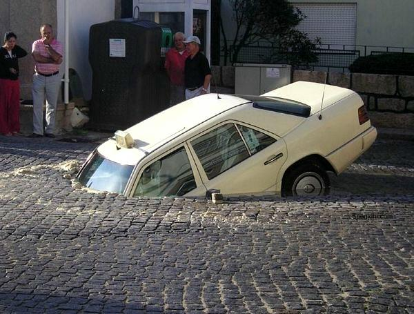 Car Crash With Road Funny Image