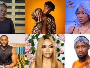 bbnaija 2020 laycon kidd waya nengi vee and triky tee are all up for possible eviction this week