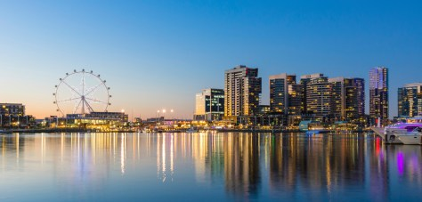 Panoramic image of the docklands waterfront area of Melbourne at night