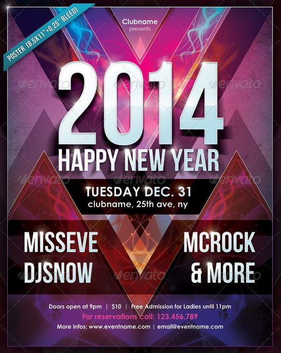 20 Stunning Happy New Year Flyer Print Templates  2014 Edition     New Year Party Print Set