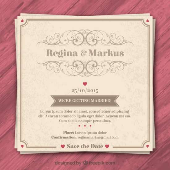 Invite Your Friends And Family To Wedding In Style With The Help Of This Vintage Invitation That Has A Tint Pink All About It Looks