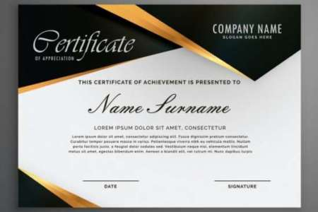 100  Huge Collection of Free Certificate Templates   XDesigns certificate decorated with black shapes and golden lines