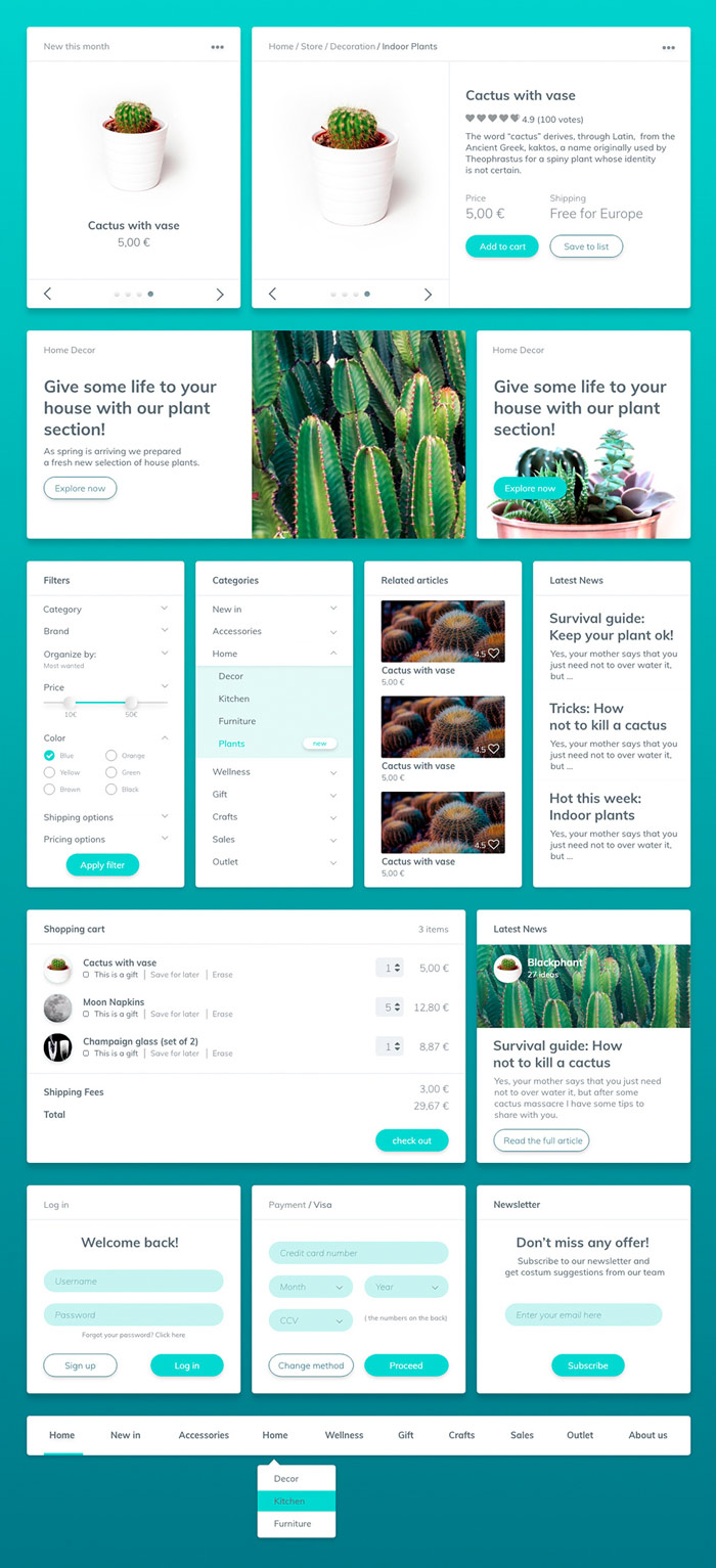 Cactaceae - Freebie UI Kit for Adobe Experience Design