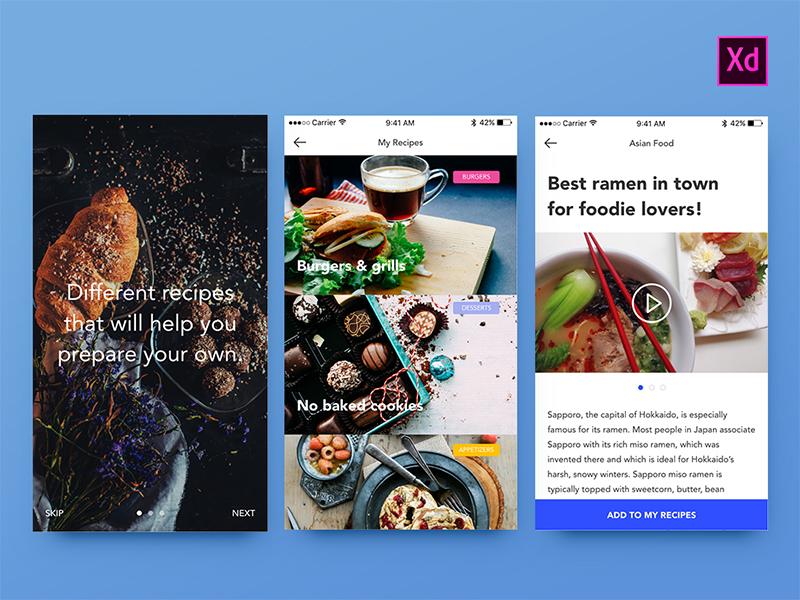 Freebie Foodies UI Kit for Adobe Xd
