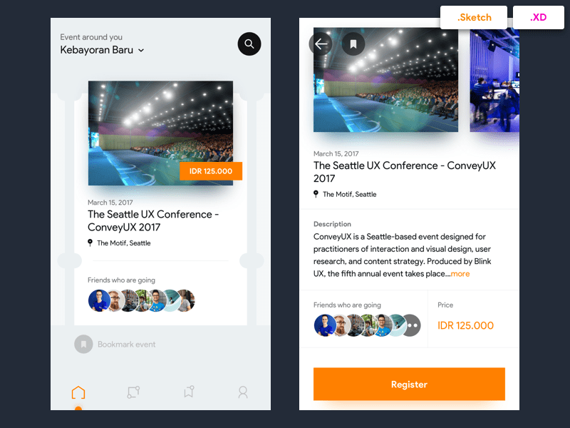 Eventbrite Redesign Concept - Free Sketch and XD Files