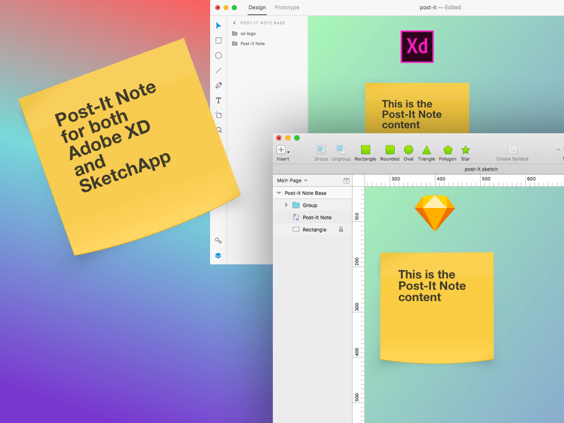 Post-It Note - Free assets for SketchApp and Adobe XD