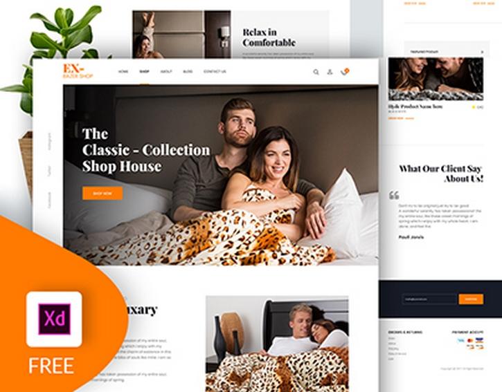 Бесплатный шаблон сайта интернет-магазина для Adobe XD