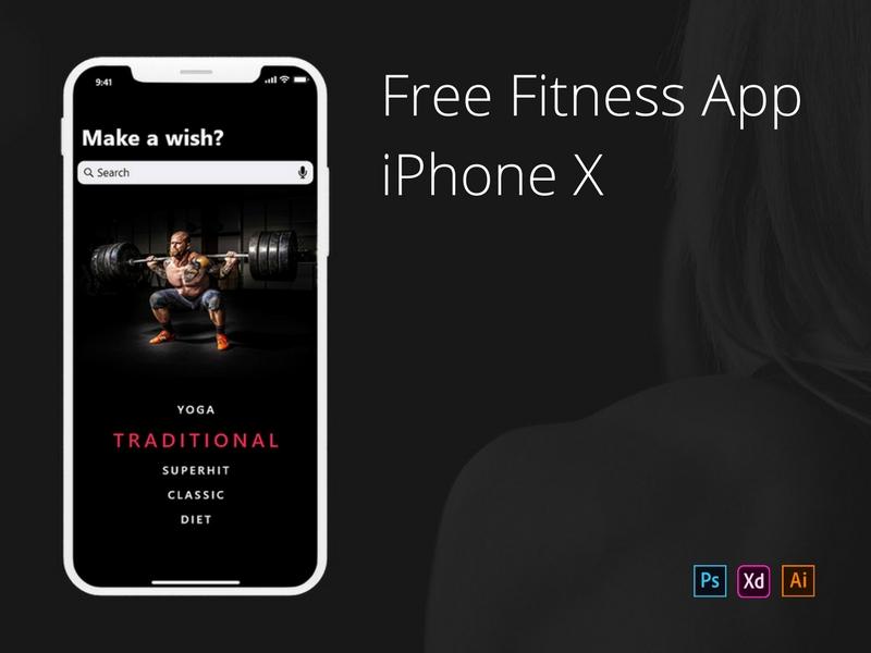 Бесплатное фитнес приложение для iPhone X разработанное в Adobe XD