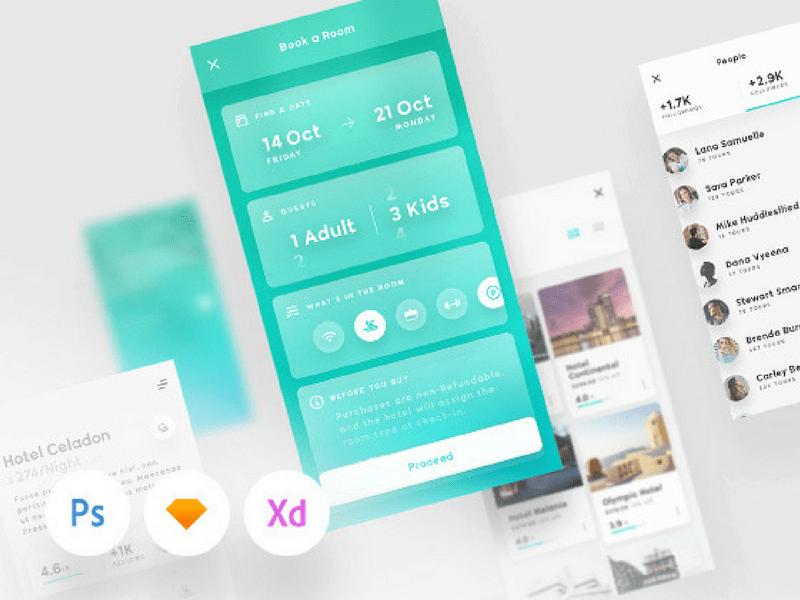 Veridian – UI элементы приложения iOS для отеля в форматах XD, PS и Sketch