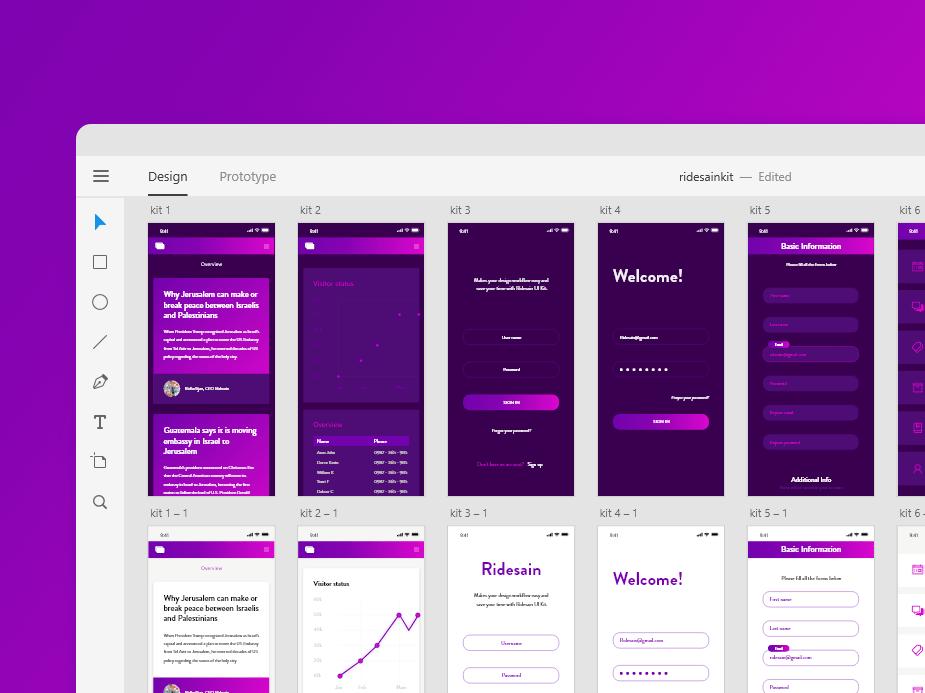 Ridesain – Бесплатный UI набор iOS приложений для Adobe XD и Photoshop