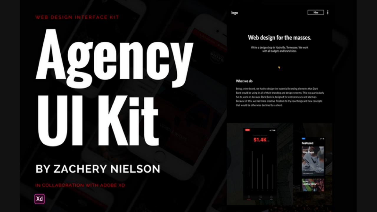 Agency UI Kit – Бесплатный набор веб-интерфейсов для Adobe XD