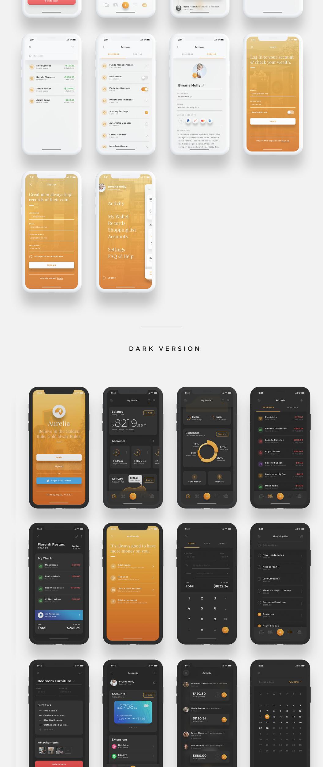 Aurelia UI Kit – Комплект UI мобильного приложения iOS кошелька для Adobe XD и Sketch