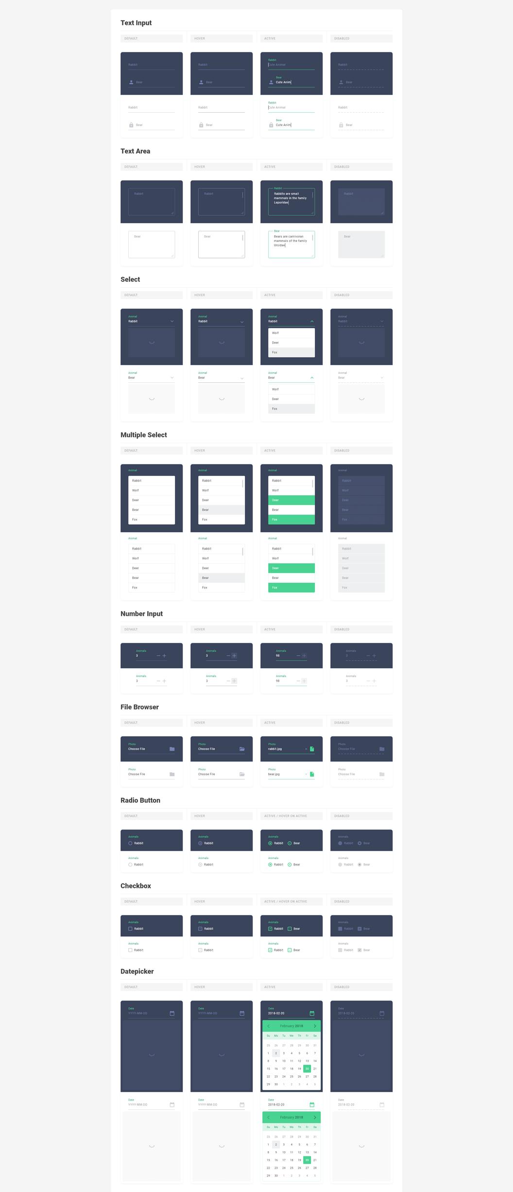 Стайлгайд Forest – Все веб компоненты для Adobe Xd и Sketch