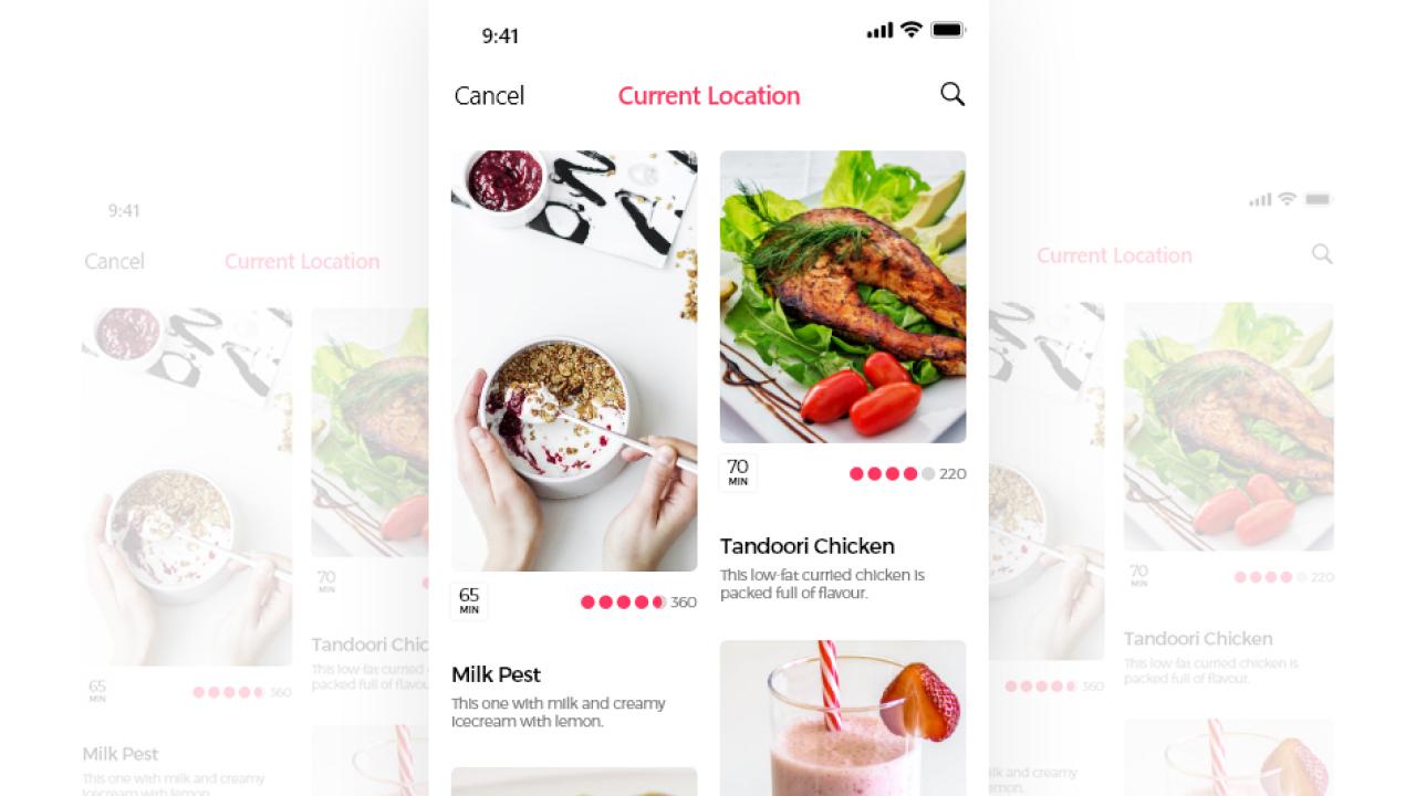 Бесплатная концепция приложения ресторана для iPhone X сделанный с Adobe XD