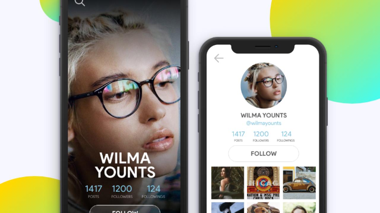 Бесплатный профиль пользователя мобильного приложения сделанный в XD