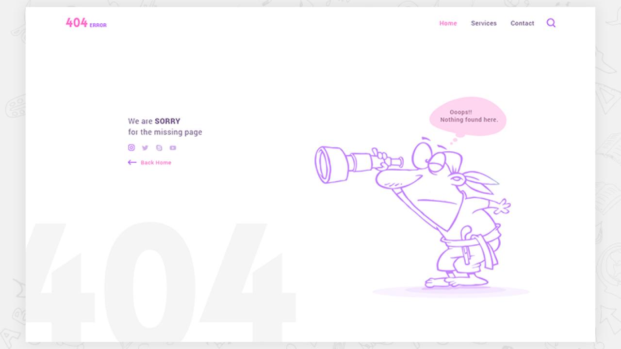 Бесплатный шаблон несуществующей страницы 404 для Adobe XD
