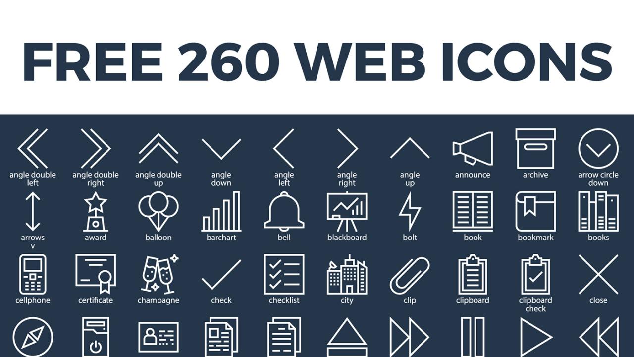 260 бесплатных веб иконки в специальном миксе для Adobe Xd