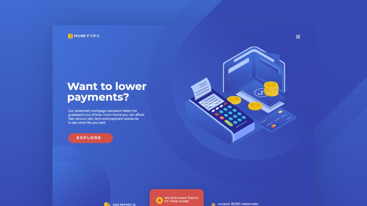Moneytips – Концепция дизайна веб-приложения сделанная в Adobe XD