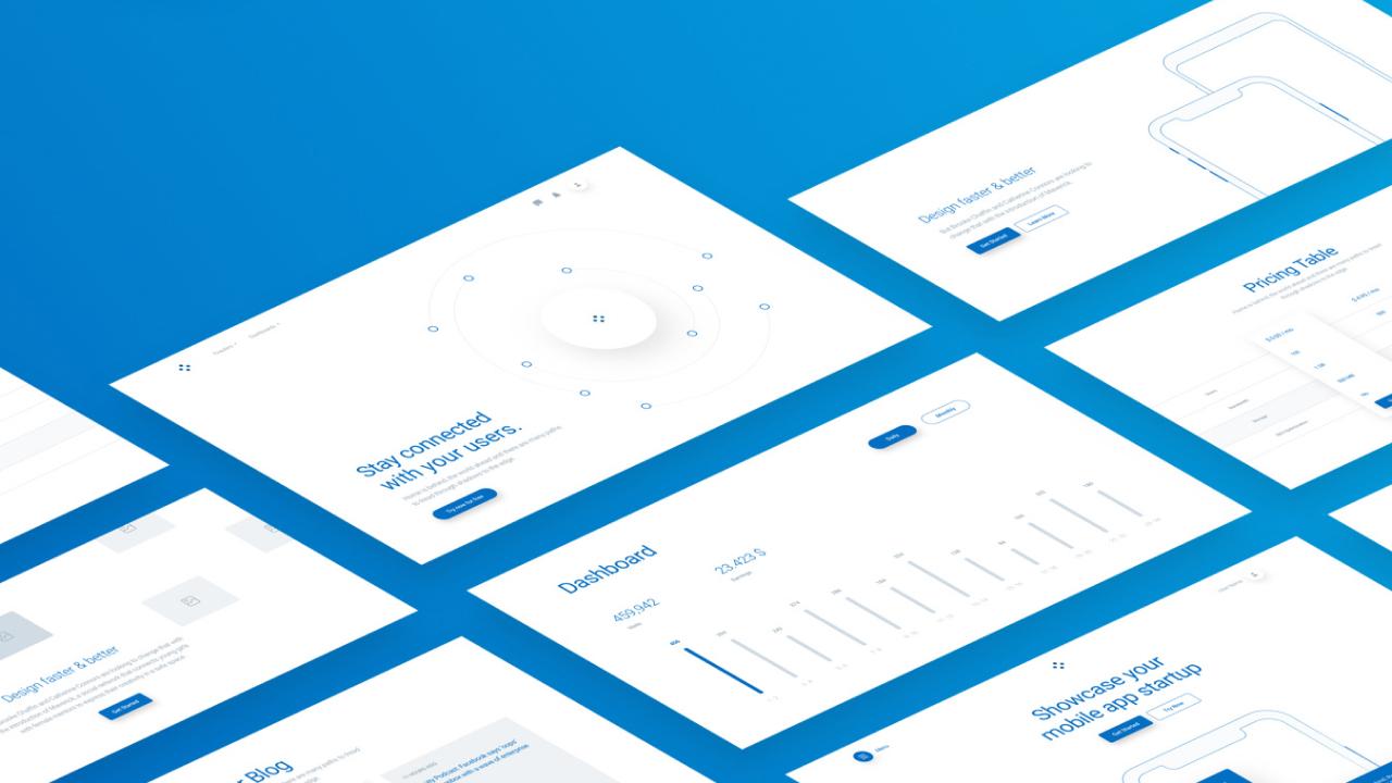 WeDot Wireframe UI Kit – Огромный набор вайрфреймов с 170+ макетами в 17 популярных категорий