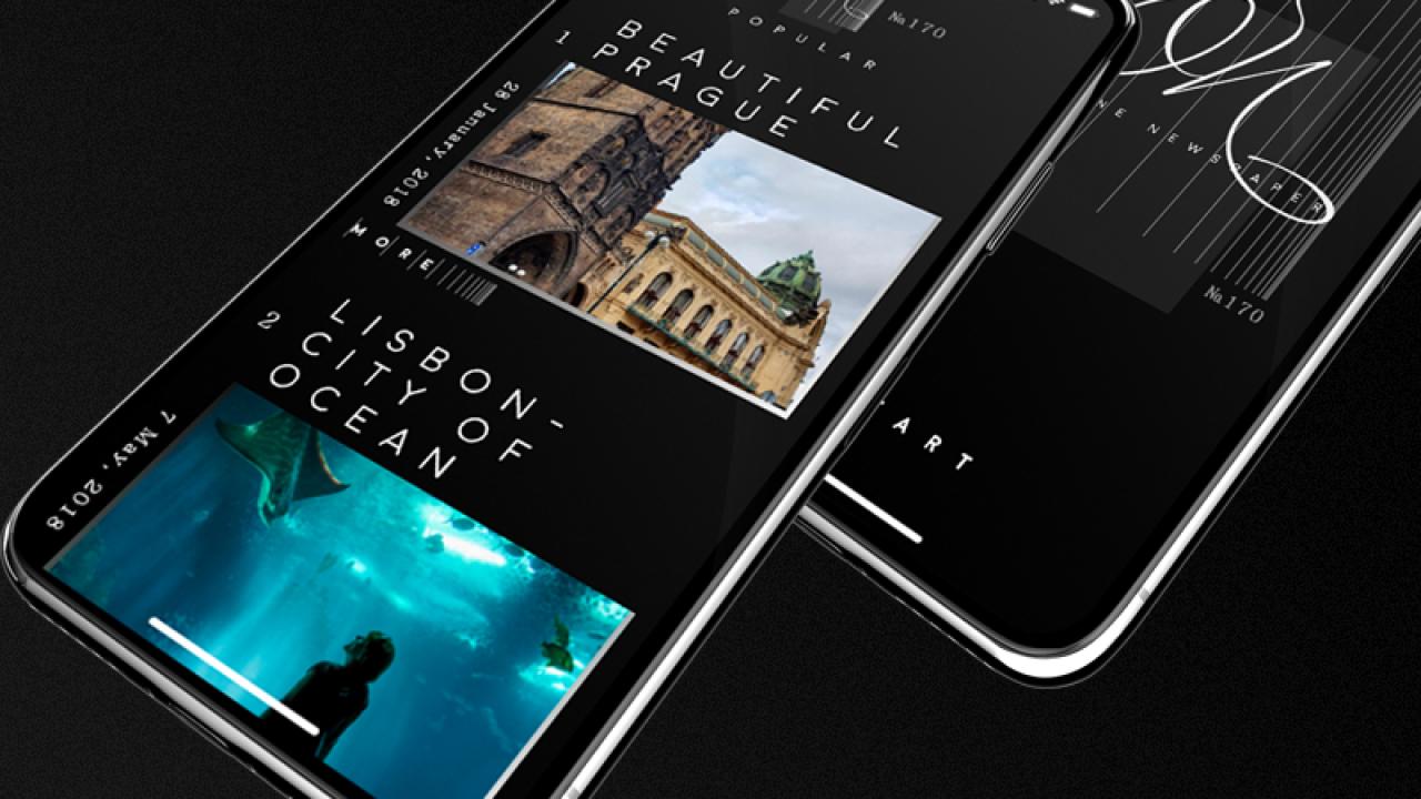 Бесплатная концепция мобильного приложения для интернет-газеты сделанная с XD