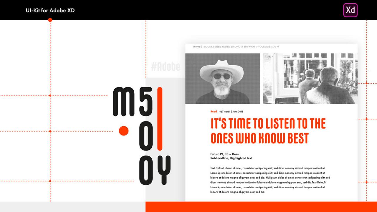 MY500 – Вдохновлённый школой Баухауз, бесплатный UI kit для Adobe Xd